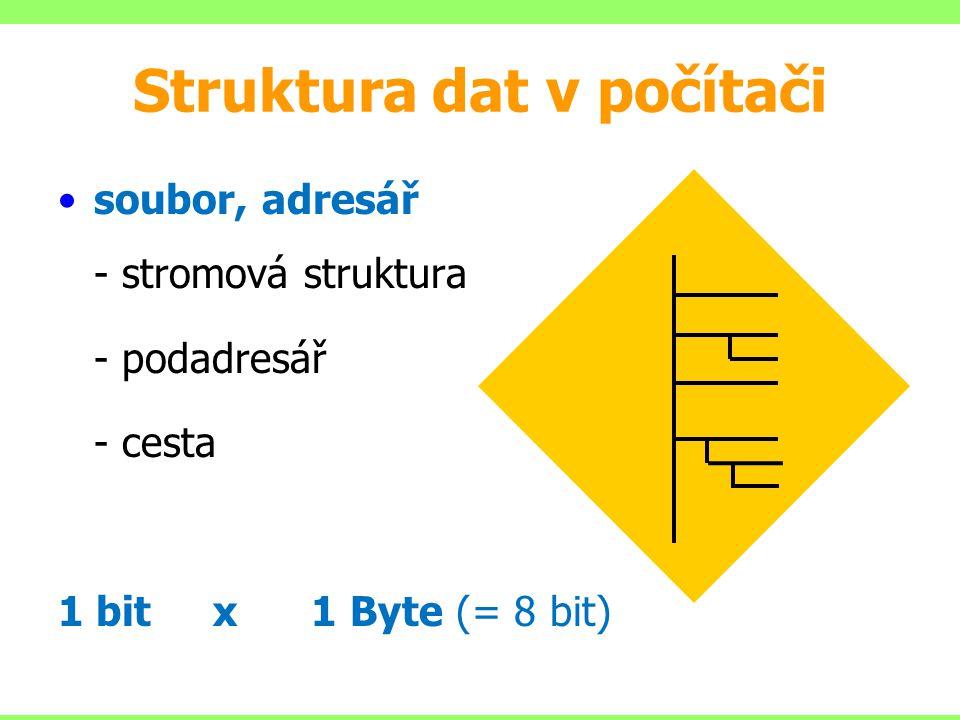 Struktura dat v počítači soubor, adresář - stromová struktura - podadresář - cesta 1 bit x 1 Byte (= 8 bit)
