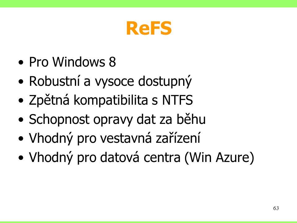 ReFS Pro Windows 8 Robustní a vysoce dostupný Zpětná kompatibilita s NTFS Schopnost opravy dat za běhu Vhodný pro vestavná zařízení Vhodný pro datová