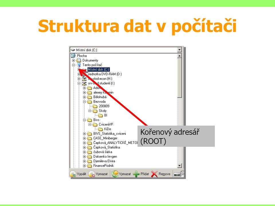 Struktura dat v počítači Kořenový adresář (ROOT)