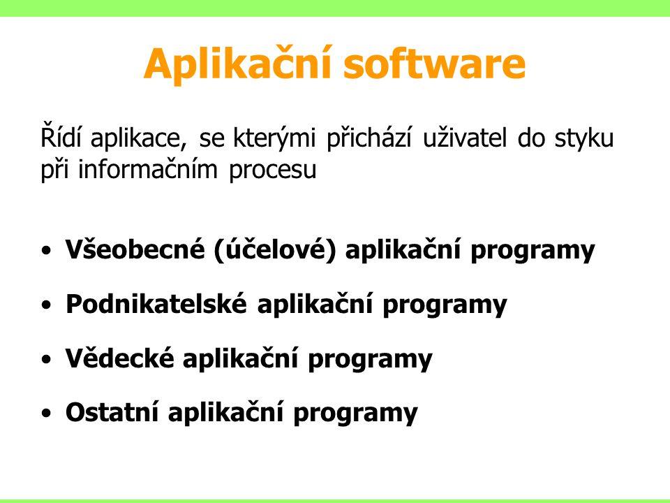 Aplikační software Řídí aplikace, se kterými přichází uživatel do styku při informačním procesu Všeobecné (účelové) aplikační programy Podnikatelské a