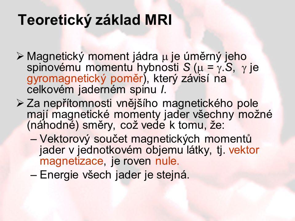 Teoretický základ MRI  Magnetický moment jádra  je úměrný jeho spinovému momentu hybnosti S (  = .S,  je gyromagnetický poměr), který závisí na c
