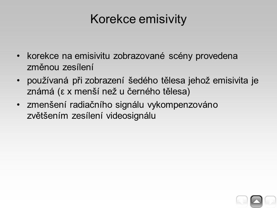 Korekce emisivity korekce na emisivitu zobrazované scény provedena změnou zesílení používaná při zobrazení šedého tělesa jehož emisivita je známá (ε x