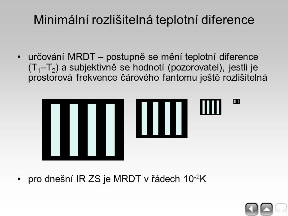 Minimální rozlišitelná teplotní diference určování MRDT – postupně se mění teplotní diference (T 1 –T 2 ) a subjektivně se hodnotí (pozorovatel), jest