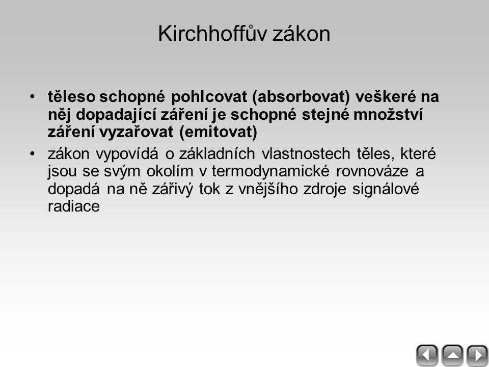 Kirchhoffův zákon těleso schopné pohlcovat (absorbovat) veškeré na něj dopadající záření je schopné stejné množství záření vyzařovat (emitovat) zákon