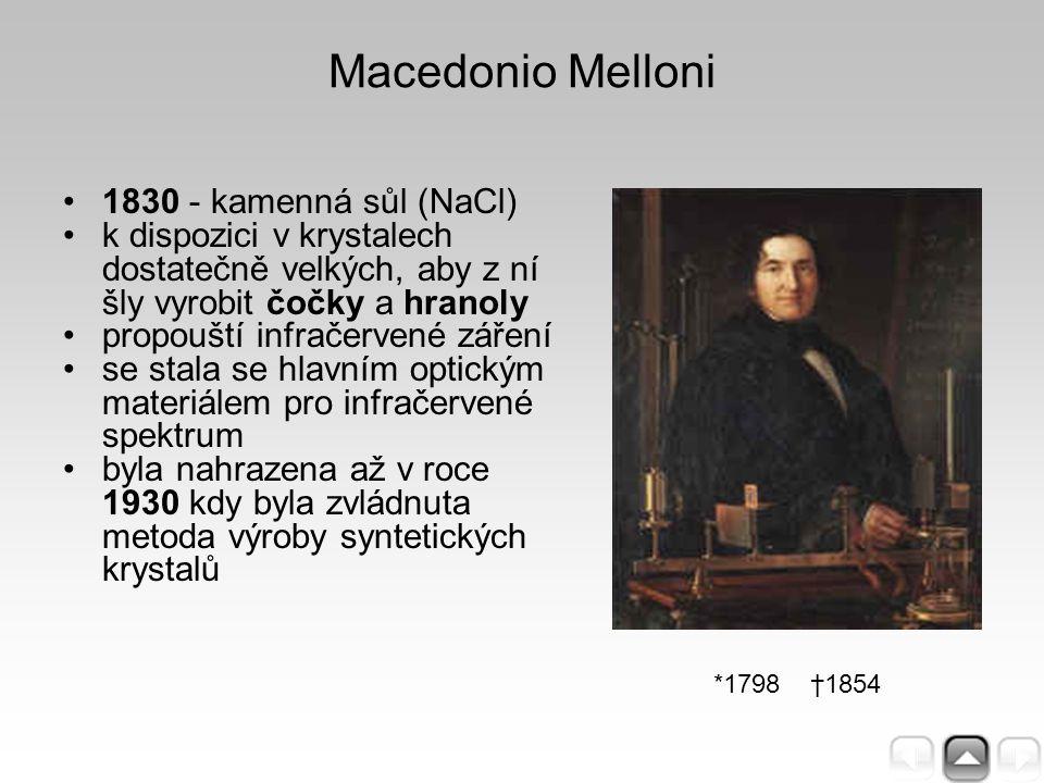 Macedonio Melloni 1830 - kamenná sůl (NaCl) k dispozici v krystalech dostatečně velkých, aby z ní šly vyrobit čočky a hranoly propouští infračervené z