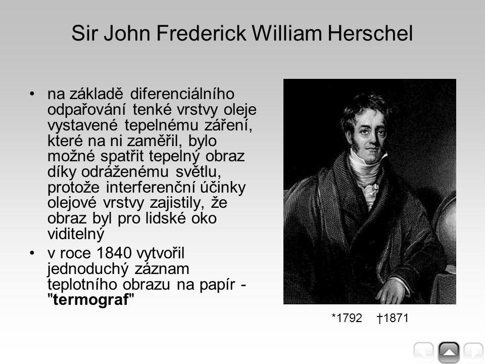 Sir John Frederick William Herschel na základě diferenciálního odpařování tenké vrstvy oleje vystavené tepelnému záření, které na ni zaměřil, bylo mož