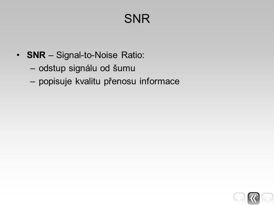 SNR SNR – Signal-to-Noise Ratio: –odstup signálu od šumu –popisuje kvalitu přenosu informace