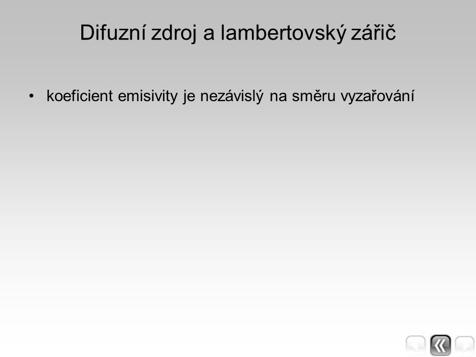 Difuzní zdroj a lambertovský zářič koeficient emisivity je nezávislý na směru vyzařování