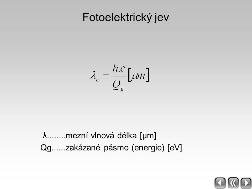 Fotoelektrický jev λ........mezní vlnová délka [μm] Qg......zakázané pásmo (energie) [eV]