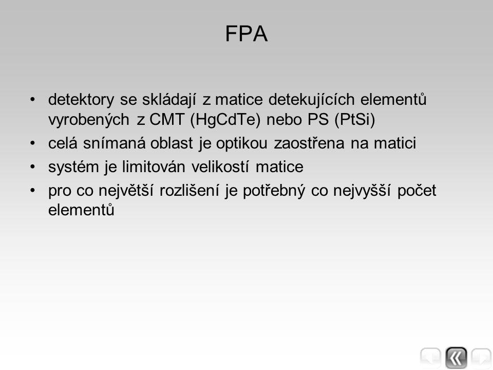 FPA detektory se skládají z matice detekujících elementů vyrobených z CMT (HgCdTe) nebo PS (PtSi) celá snímaná oblast je optikou zaostřena na matici s