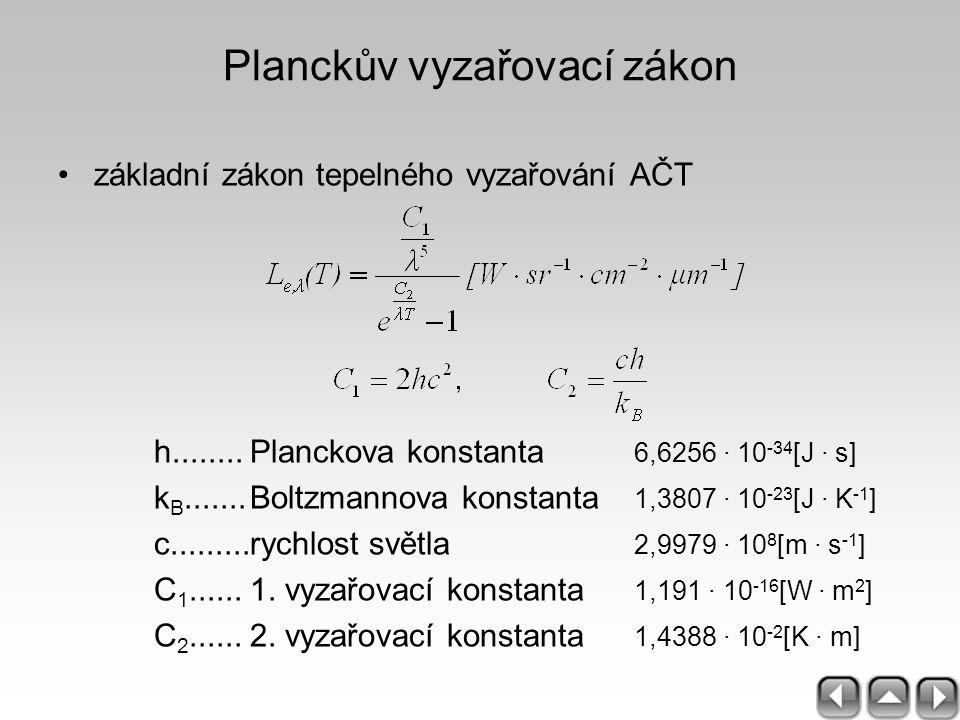 Planckův vyzařovací zákon základní zákon tepelného vyzařování AČT h........Planckova konstanta 6,6256 · 10 -34 [J · s] k B.......Boltzmannova konstant