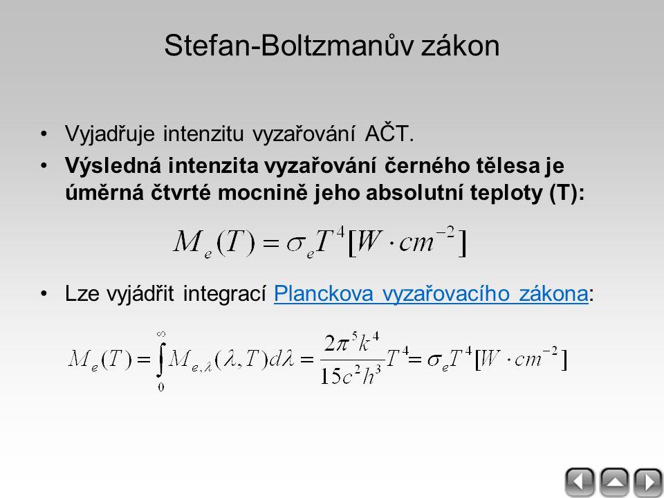Stefan-Boltzmanův zákon Vyjadřuje intenzitu vyzařování AČT. Výsledná intenzita vyzařování černého tělesa je úměrná čtvrté mocnině jeho absolutní teplo