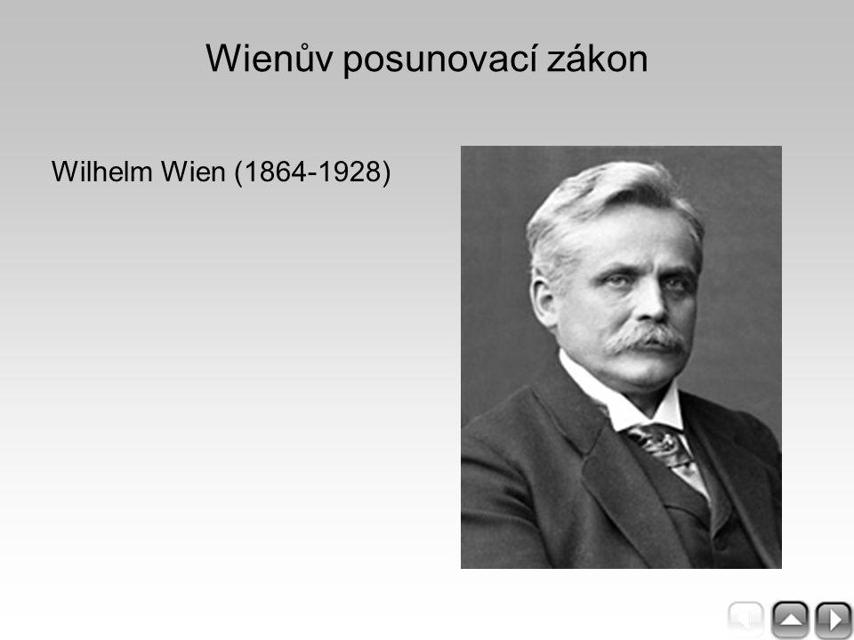 Wienův posunovací zákon Wilhelm Wien (1864-1928)
