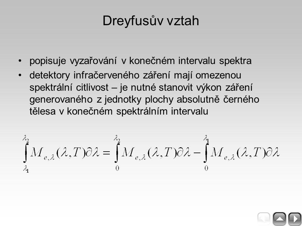 Dreyfusův vztah popisuje vyzařování v konečném intervalu spektra detektory infračerveného záření mají omezenou spektrální citlivost – je nutné stanovi