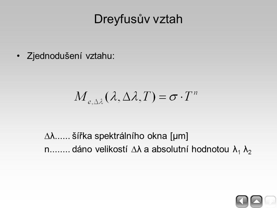 Dreyfusův vztah Zjednodušení vztahu: ∆λ......šířka spektrálního okna [μm] n........dáno velikostí ∆λ a absolutní hodnotou λ 1 λ 2