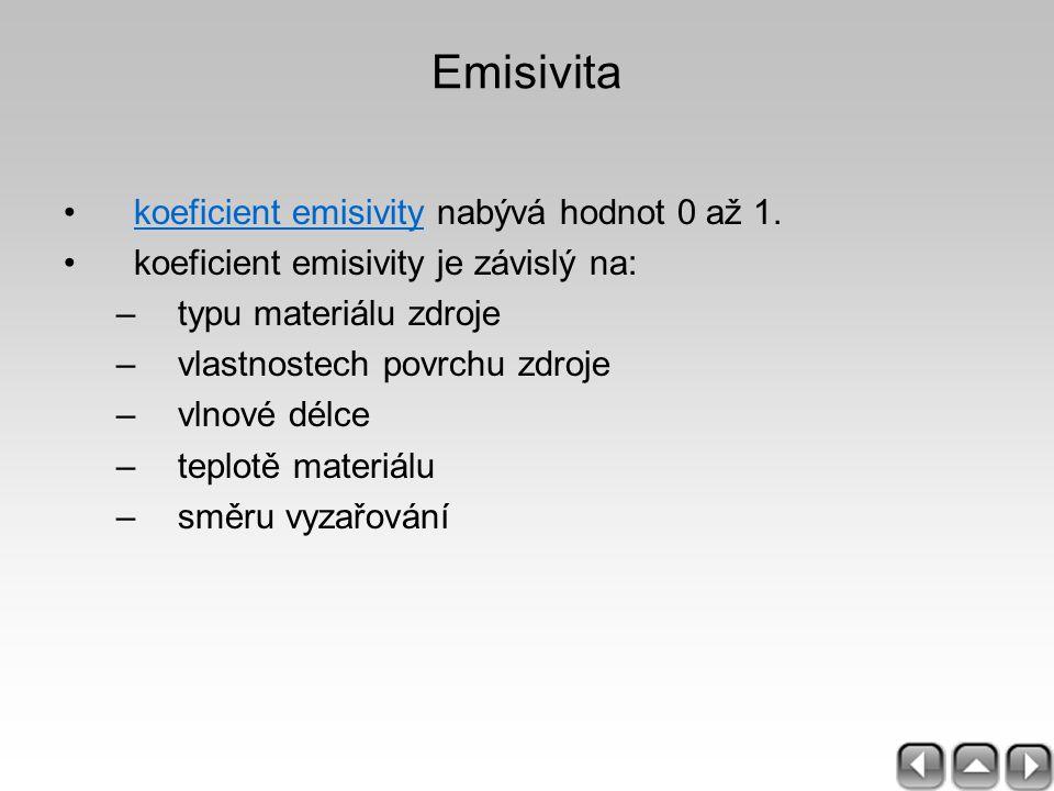Emisivita koeficient emisivity nabývá hodnot 0 až 1.koeficient emisivity koeficient emisivity je závislý na: –typu materiálu zdroje –vlastnostech povr