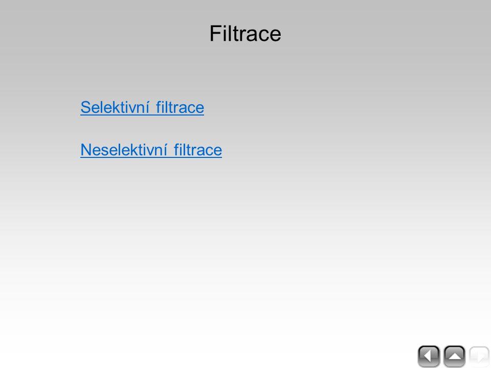 Filtrace Selektivní filtrace Neselektivní filtrace