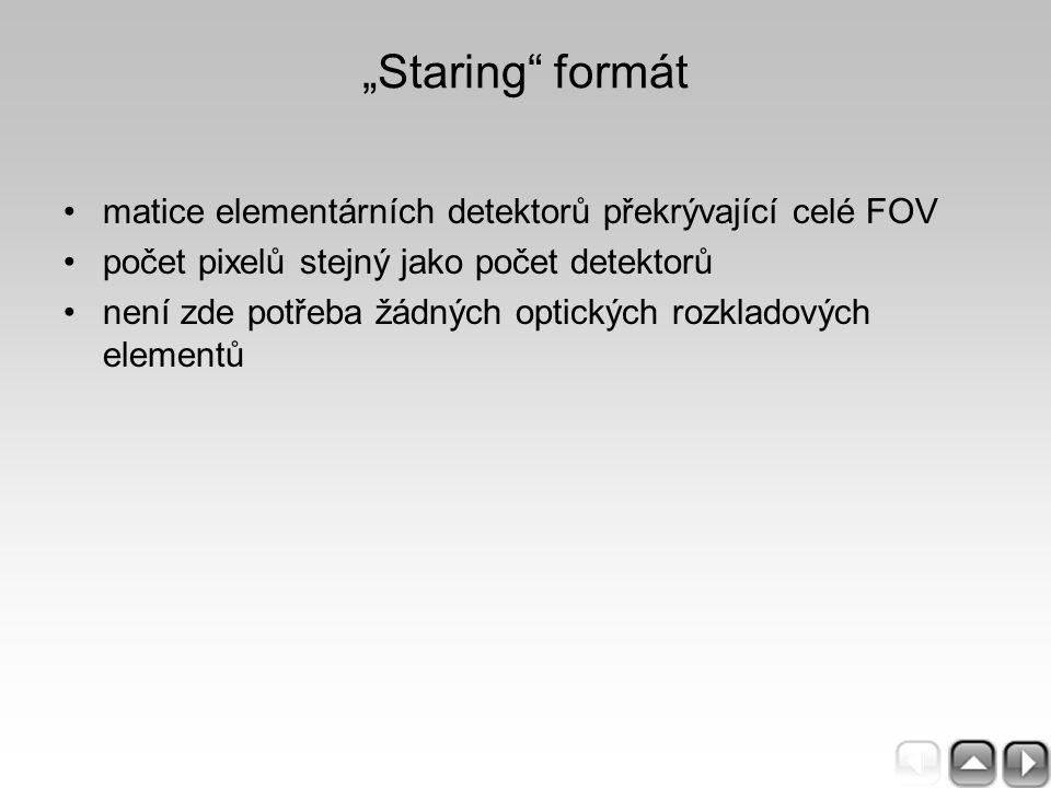 """""""Staring"""" formát matice elementárních detektorů překrývající celé FOV počet pixelů stejný jako počet detektorů není zde potřeba žádných optických rozk"""