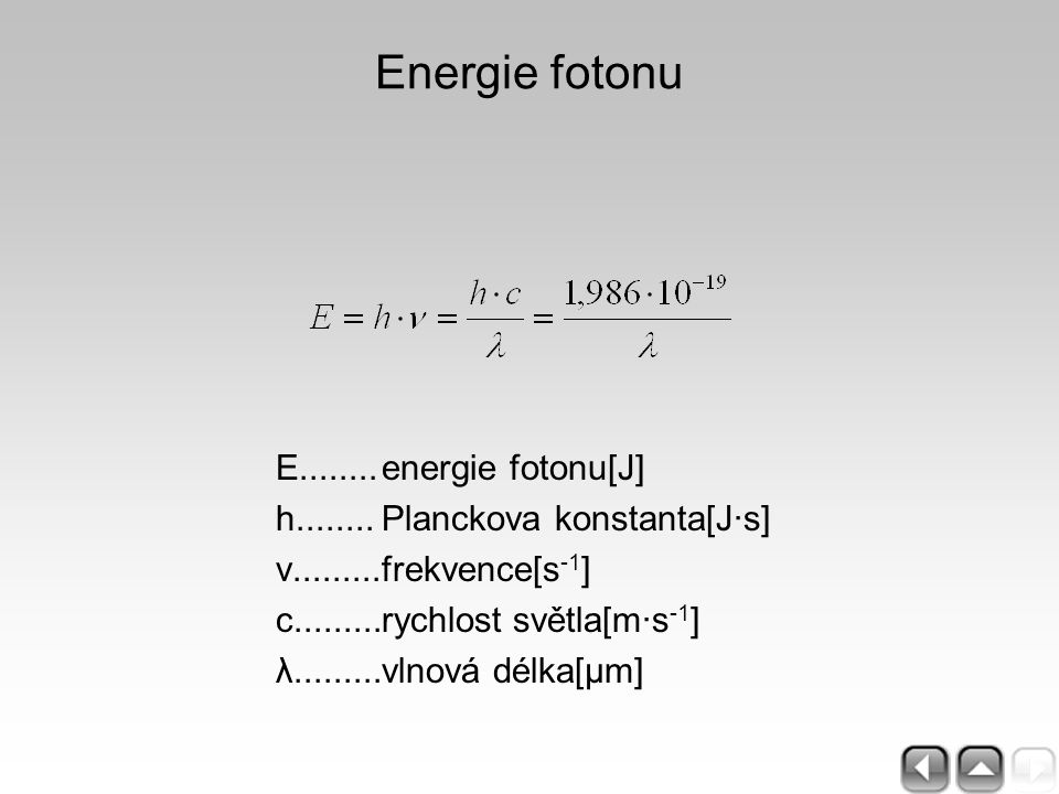 Kirchhoffův zákon termodynamická rovnováha tělesa v poli infračerveného záření: absorbovaný výkon [W] = α x E[W.m -2 ] x plocha[m 2 ] = ε x M[W.m -2 ] x plocha[m 2 ] = vyzářený výkon [W] E........ozáření, expozice M.......intenzita vyzařování