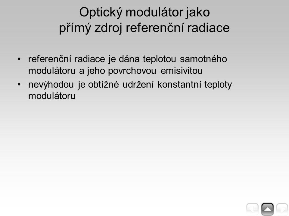 referenční radiace je dána teplotou samotného modulátoru a jeho povrchovou emisivitou nevýhodou je obtížné udržení konstantní teploty modulátoru Optic