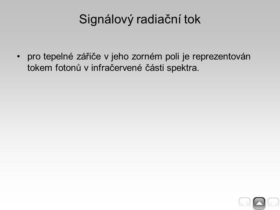 Signálový radiační tok pro tepelné zářiče v jeho zorném poli je reprezentován tokem fotonů v infračervené části spektra.