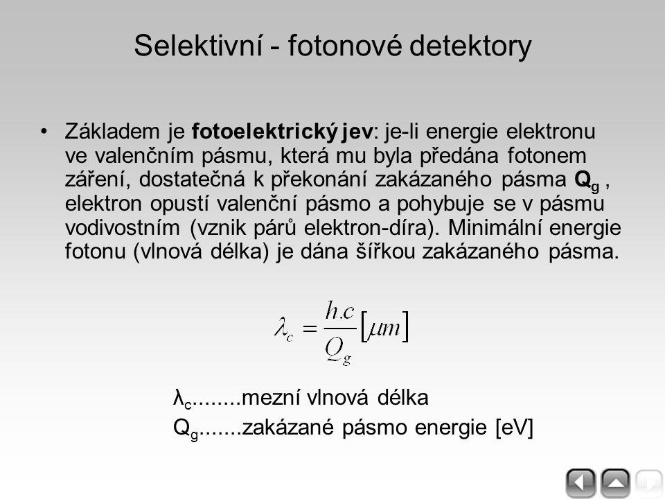Selektivní - fotonové detektory Základem je fotoelektrický jev: je-li energie elektronu ve valenčním pásmu, která mu byla předána fotonem záření, dost
