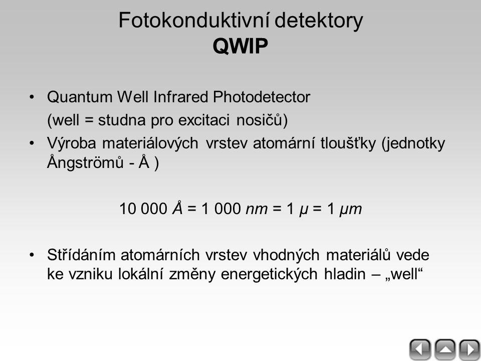 Fotokonduktivní detektory QWIP Quantum Well Infrared Photodetector (well = studna pro excitaci nosičů) Výroba materiálových vrstev atomární tloušťky (