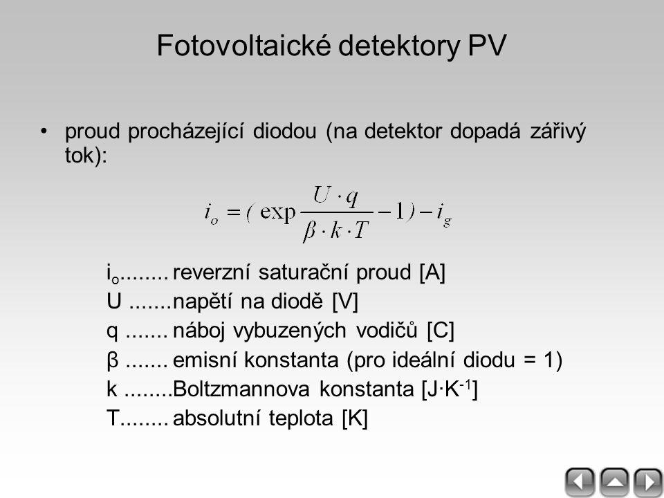 Fotovoltaické detektory PV proud procházející diodou (na detektor dopadá zářivý tok): i o........reverzní saturační proud [A] U.......napětí na diodě