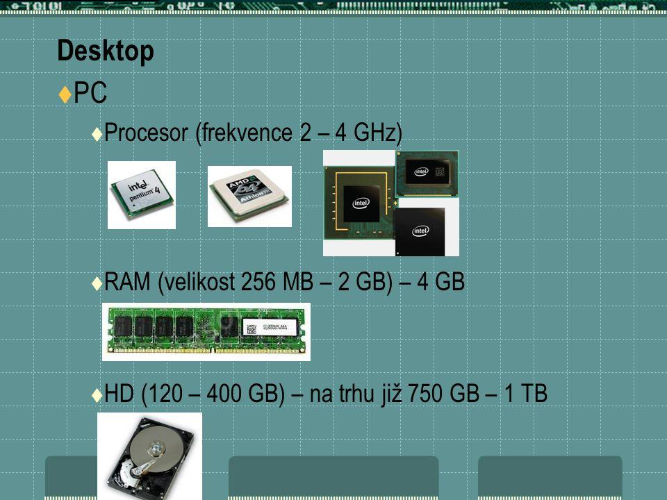 Desktop  PC  Procesor (frekvence 2 – 4 GHz)  RAM (velikost 256 MB – 2 GB) – 4 GB  HD (120 – 400 GB) – na trhu již 750 GB – 1 TB