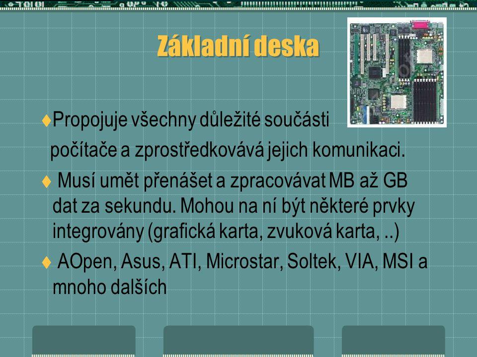 Základní deska  Propojuje všechny důležité součásti počítače a zprostředkovává jejich komunikaci.  Musí umět přenášet a zpracovávat MB až GB dat za