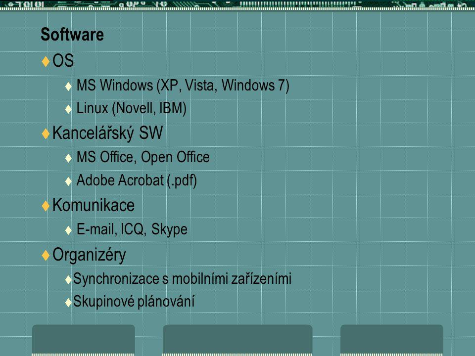 Software  OS  MS Windows (XP, Vista, Windows 7)  Linux (Novell, IBM)  Kancelářský SW  MS Office, Open Office  Adobe Acrobat (.pdf)  Komunikace  E-mail, ICQ, Skype  Organizéry  Synchronizace s mobilními zařízeními  Skupinové plánování