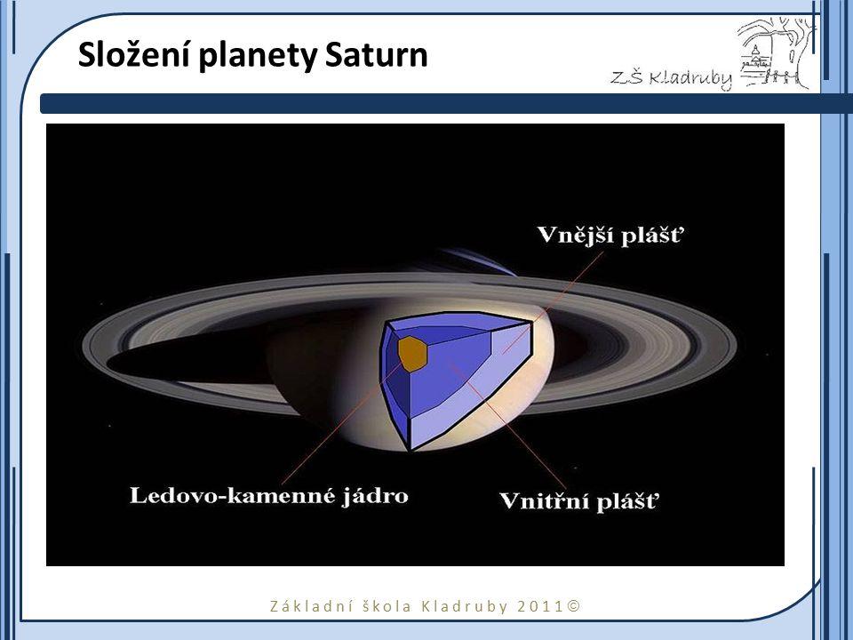 Základní škola Kladruby 2011  Atmosféra Atmosféra Saturnu se skládá téměř výhradně z vodíku a hélia.