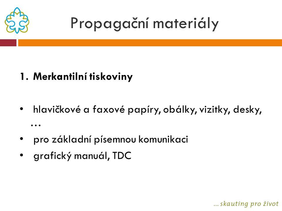 Propagační materiály 1. Merkantilní tiskoviny hlavičkové a faxové papíry, obálky, vizitky, desky, … pro základní písemnou komunikaci grafický manuál,