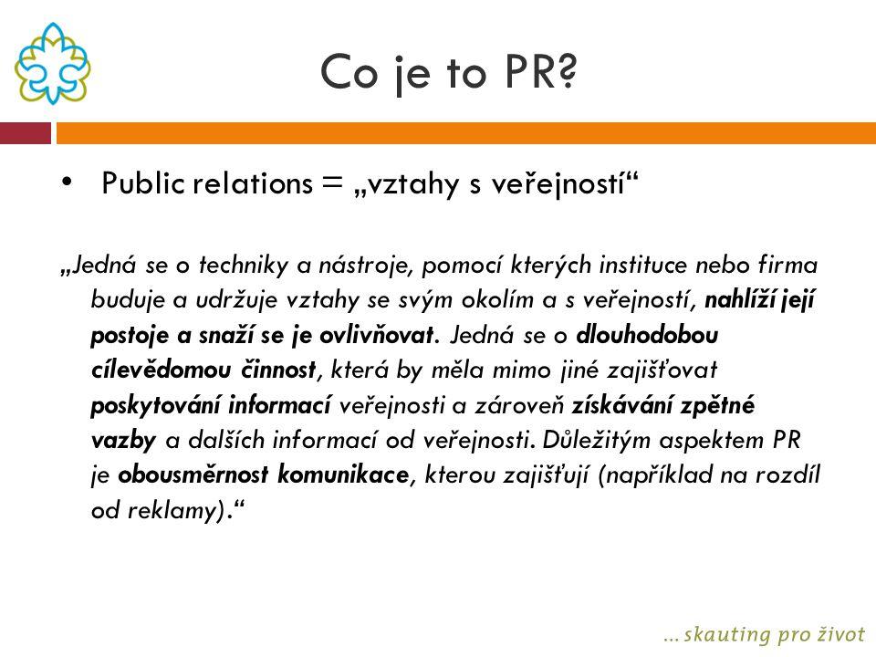 """Co je to PR? Public relations = """"vztahy s veřejností"""" """"Jedná se o techniky a nástroje, pomocí kterých instituce nebo firma buduje a udržuje vztahy se"""
