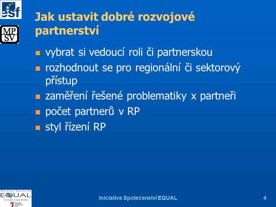 Iniciativa Společenství EQUAL4 Jak ustavit dobré rozvojové partnerství n vybrat si vedoucí roli či partnerskou n rozhodnout se pro regionální či sektorový přístup n zaměření řešené problematiky x partneři n počet partnerů v RP n styl řízení RP