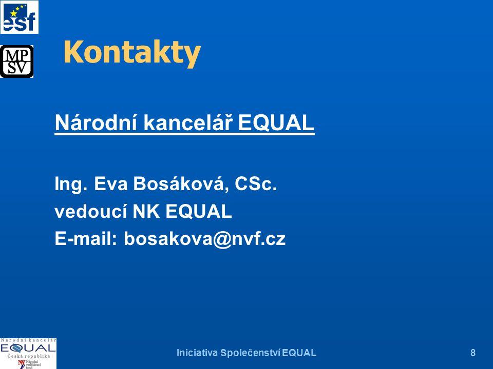 Iniciativa Společenství EQUAL8 Kontakty Národní kancelář EQUAL Ing.