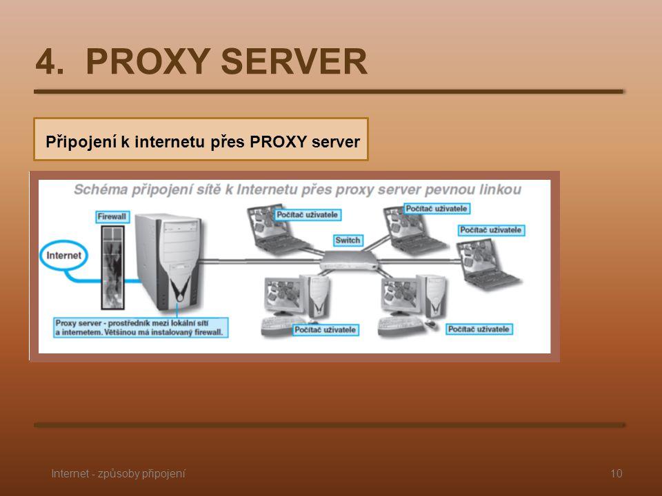 4. PROXY SERVER Připojení k internetu přes PROXY server 10Internet - způsoby připojení