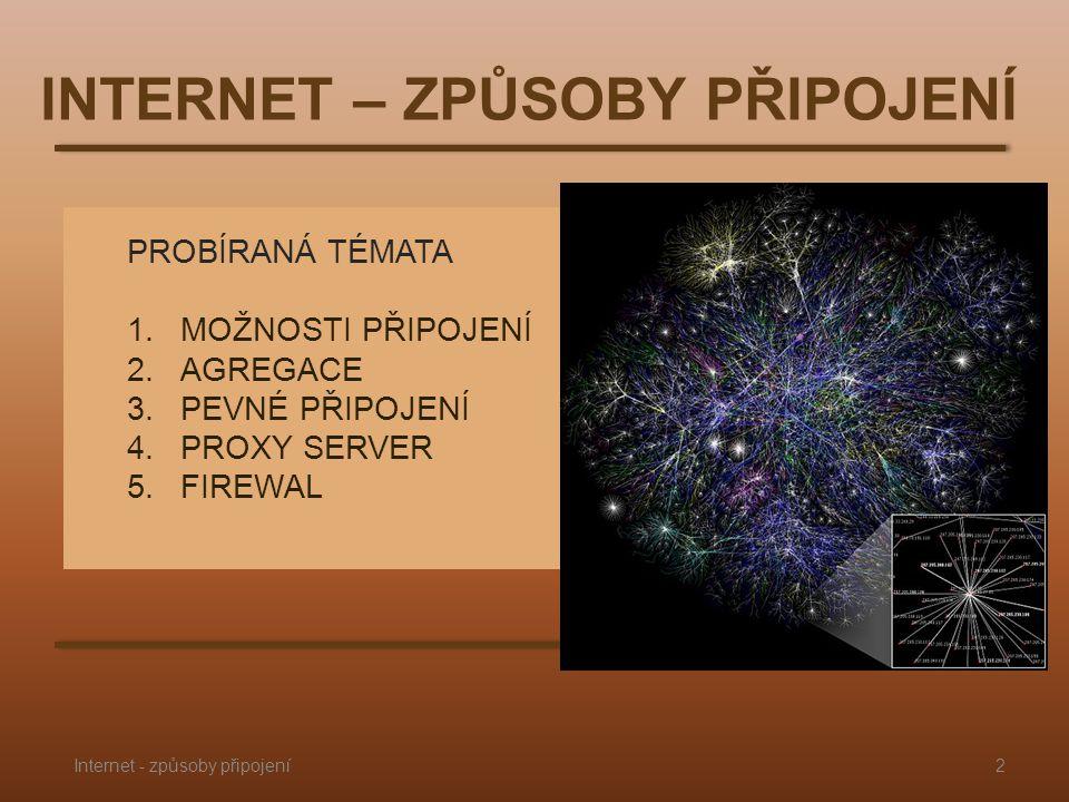 PROBÍRANÁ TÉMATA 1.MOŽNOSTI PŘIPOJENÍ 2.AGREGACE 3.PEVNÉ PŘIPOJENÍ 4.PROXY SERVER 5.FIREWAL INTERNET – ZPŮSOBY PŘIPOJENÍ 2Internet - způsoby připojení