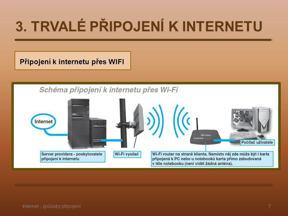 3. TRVALÉ PŘIPOJENÍ K INTERNETU Připojení k internetu přes WIFI 7Internet - způsoby připojení