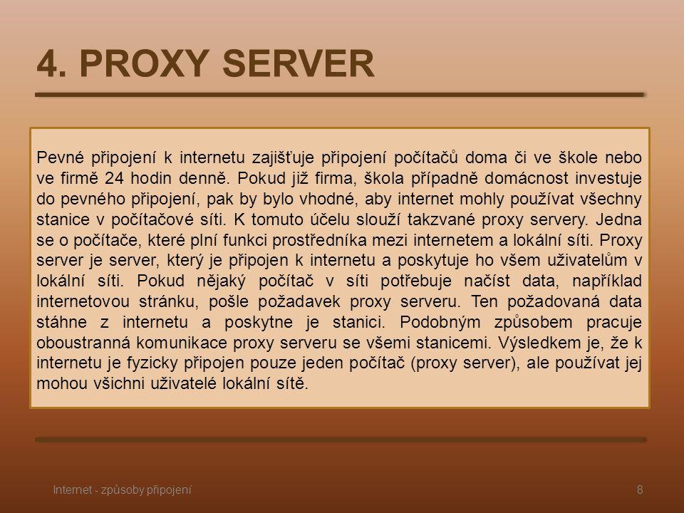 4. PROXY SERVER Pevné připojení k internetu zajišťuje připojení počítačů doma či ve škole nebo ve firmě 24 hodin denně. Pokud již firma, škola případn
