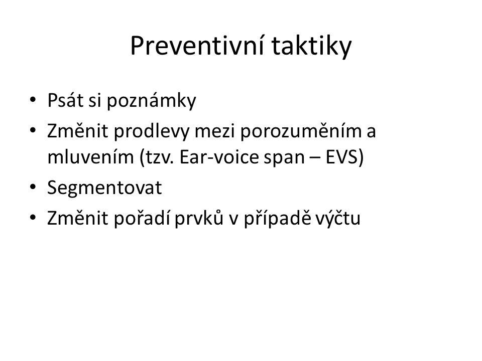 Preventivní taktiky Psát si poznámky Změnit prodlevy mezi porozuměním a mluvením (tzv. Ear-voice span – EVS) Segmentovat Změnit pořadí prvků v případě