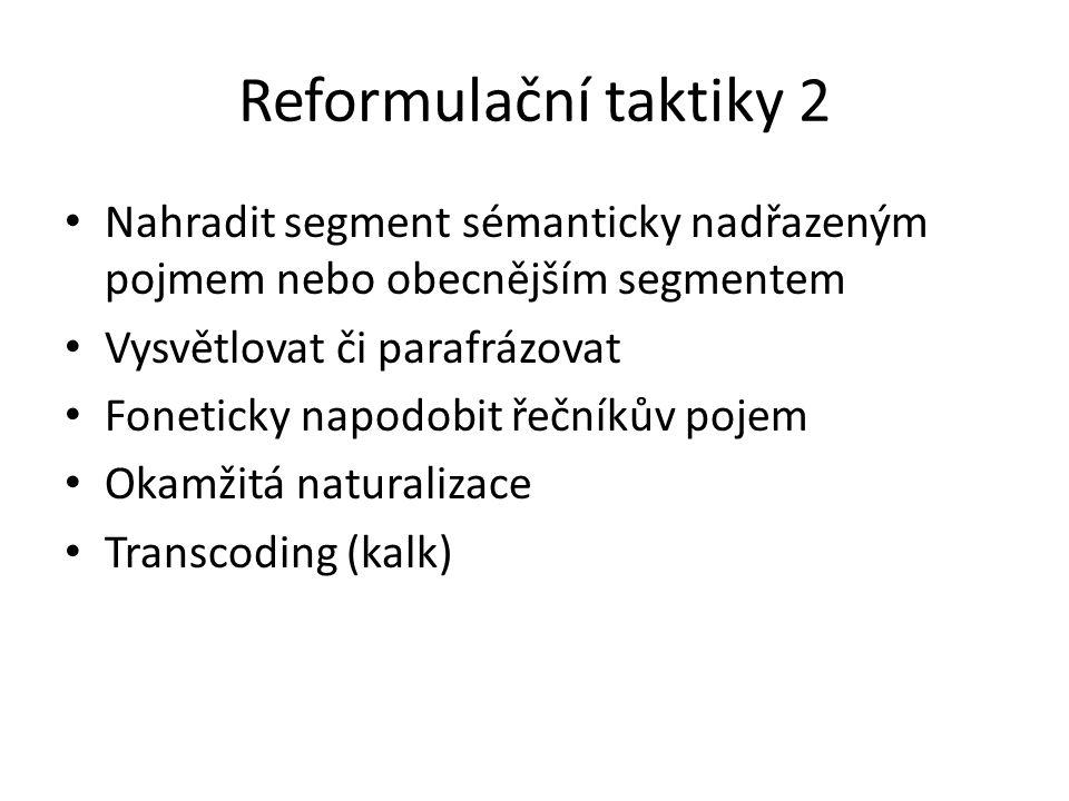 Reformulační taktiky 2 Nahradit segment sémanticky nadřazeným pojmem nebo obecnějším segmentem Vysvětlovat či parafrázovat Foneticky napodobit řečníků