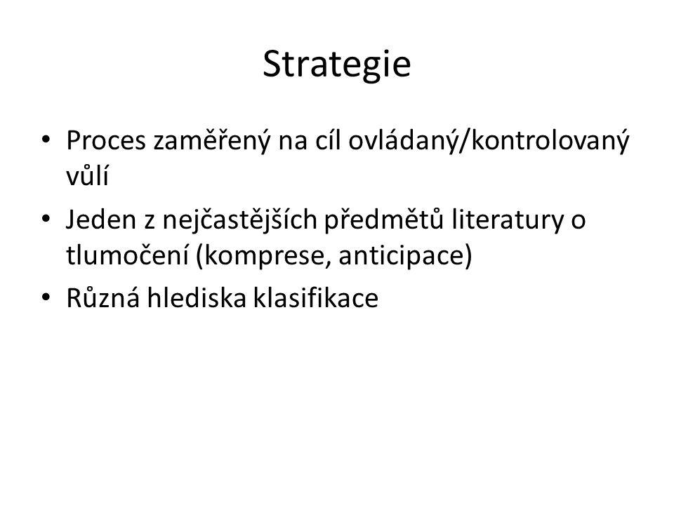 Strategie Proces zaměřený na cíl ovládaný/kontrolovaný vůlí Jeden z nejčastějších předmětů literatury o tlumočení (komprese, anticipace) Různá hledisk