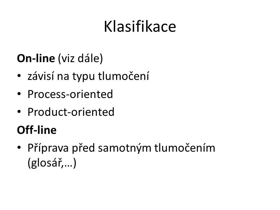Klasifikace On-line (viz dále) závisí na typu tlumočení Process-oriented Product-oriented Off-line Příprava před samotným tlumočením (glosář,…)