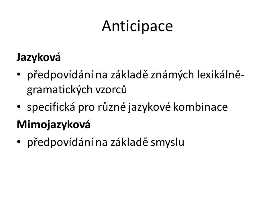 Anticipace Jazyková předpovídání na základě známých lexikálně- gramatických vzorců specifická pro různé jazykové kombinace Mimojazyková předpovídání n