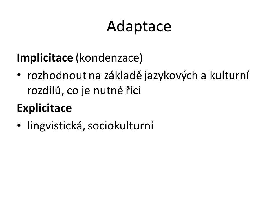 Adaptace Implicitace (kondenzace) rozhodnout na základě jazykových a kulturní rozdílů, co je nutné říci Explicitace lingvistická, sociokulturní