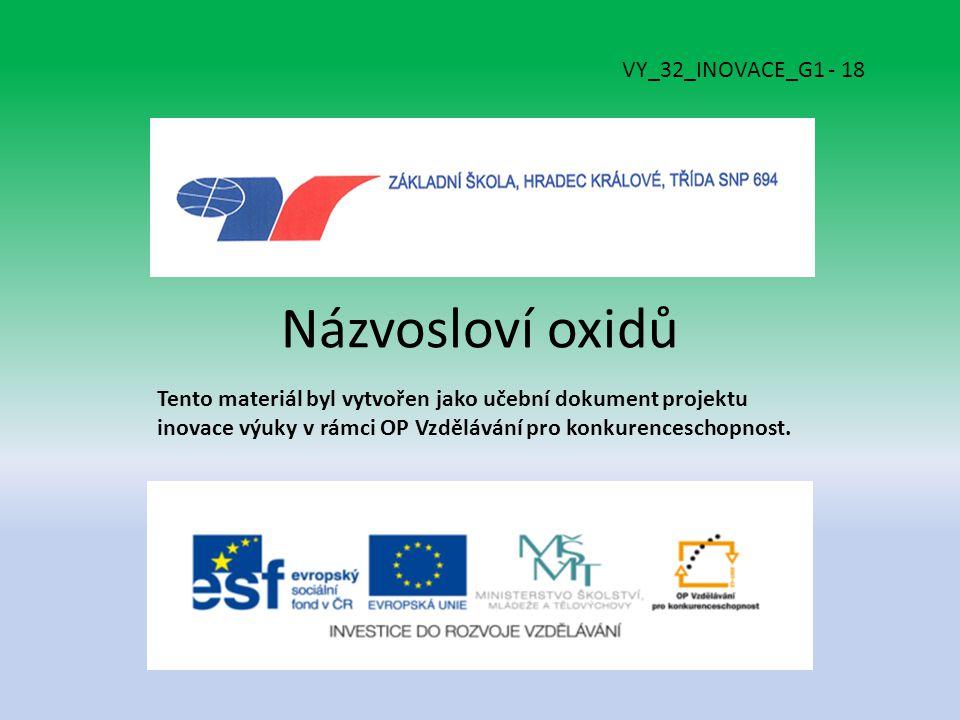 Názvosloví oxidů Tento materiál byl vytvořen jako učební dokument projektu inovace výuky v rámci OP Vzdělávání pro konkurenceschopnost.