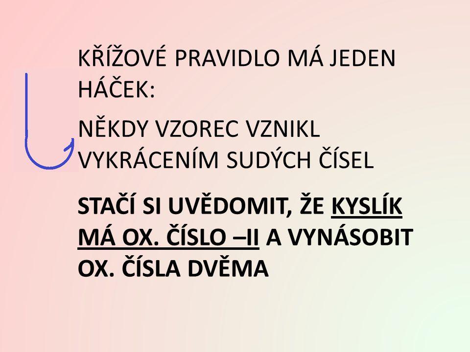 Ad A. VYUŽITÍ KŘÍŽOVÉHO PRAVIDLA: - II (1) Na O 2 I oxidsodný Na 2 O oxid sodný