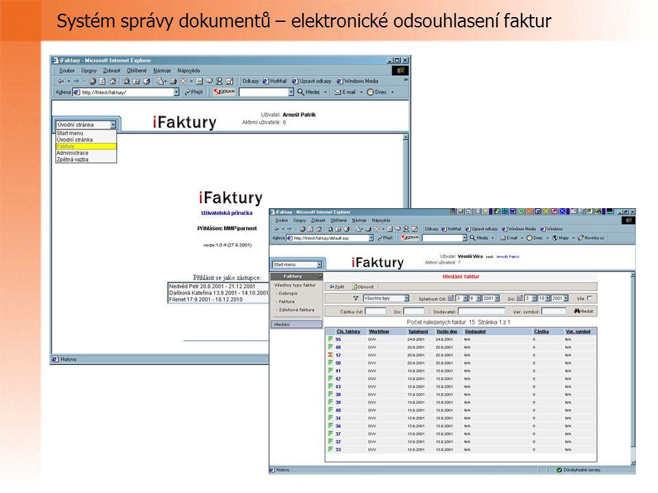 Systém správy dokumentů – elektronické odsouhlasení faktur
