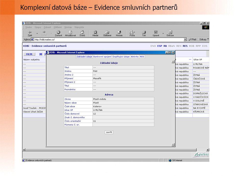 Komplexní datová báze – Evidence smluvních partnerů